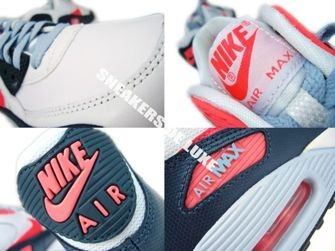 345017-117 Nike Air Max 90 White/Atomic Red-Armory Navy-Light Armory 345017-117