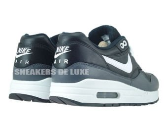654466-001 Nike Air Max 1 Leather Balck/White-Dark Grey