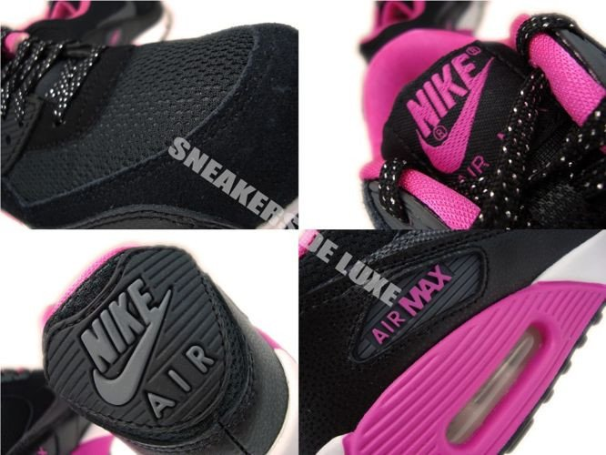 low priced 19ff9 2d209 ... 345017-017 Nike Air Max 90 Black Dark Grey-Pink Foil-White