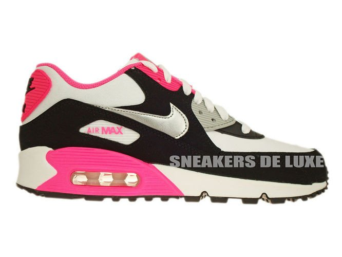 24e6b6912c 345017-122 Nike Air Max 90 White/Metallic Silver-Black-Hyper Pink ...