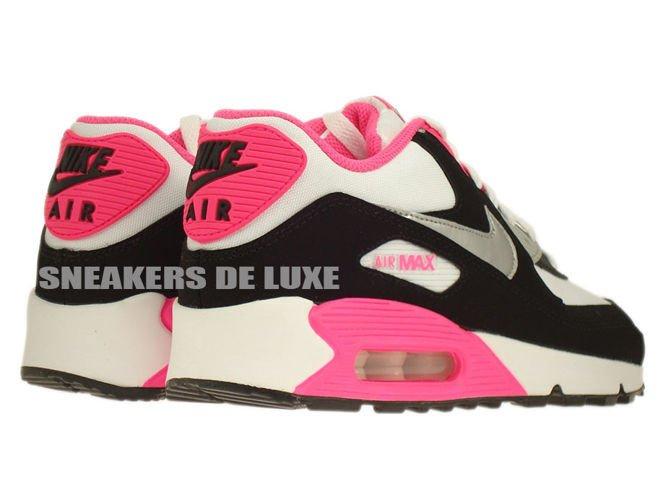 save off a3f36 1f13f ... 345017-122 Nike Air Max 90 White Metallic Silver-Black-Hyper Pink ...