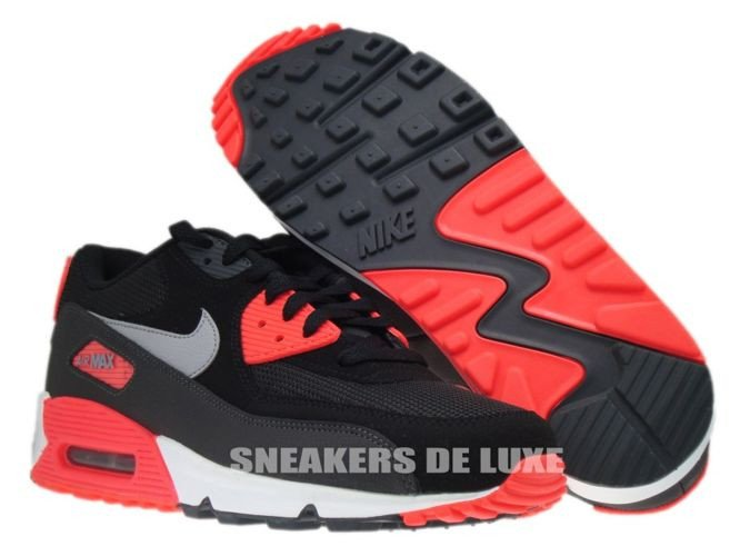 Mens Womens Sneakers Nike Air Max 90 Essential Black Wolf Grey Atomic Red Anthracite 537384 006 537384 006