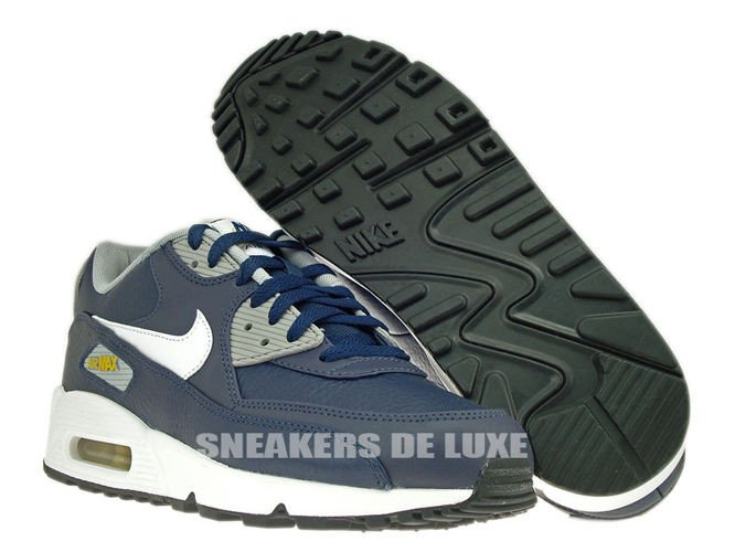 sale retailer 11f57 291ee ... 652980-400 Nike Air Max 90 Leather Obsidian White-Wolf Grey-Gold ...
