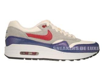 555284-100 Nike Air Max 1 Vintage Sail/Hyper Red–Street Grey–Blue Tint