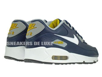 652980-400 Nike Air Max 90 Leather Obsidian/White-Wolf Grey-Gold Loden